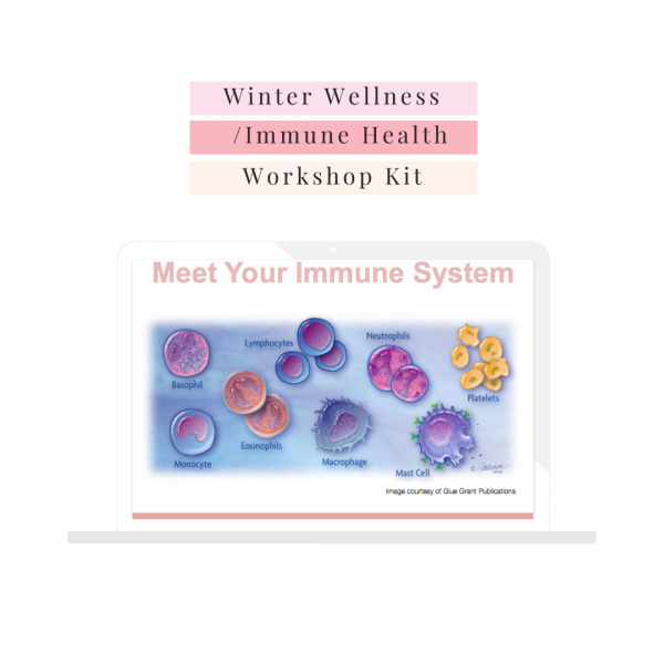 winter wellness immune health workshop kit for nutritionists naturopaths health coaches picture of done for you slides on laptop