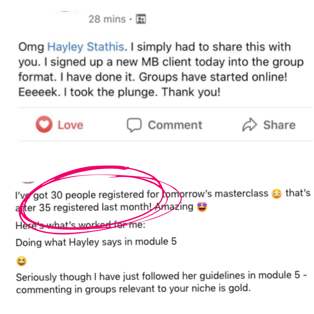Client Testimonials for the Package & Prosper Mastermind with Hayley Stathis